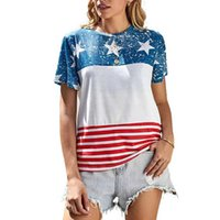 Summer Designers T Shirt For Women Lady US Flag Printing Tshirts Tiktok Loose Casual Sport Sweat Shirt Striped Star Oversize Tee Outfit Tracksuit Top Clothes G69SUO5