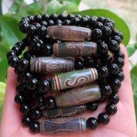 Natural Tibetano Dzi pulsera Reiki Buda Guanyin Ruyi Dragon Eyes Agat Beads Curación Negro Agates Strand Pulseras Mujeres Hombres Charm