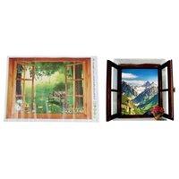 Pegatinas de pared -2PCS Etiqueta de escenario de la ventana 3D extraíbles de la ventana de la ventana Decoración de la decoración del hogar Mural de la decoración, vista exótica.