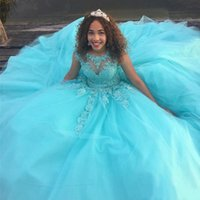 2021 Saudi Africa Quinceanera Dress Princess Puffy Sheer Ball Sweet 16 Ages Long Girls Prom Party Pageant Gown Plus Size Custom Made
