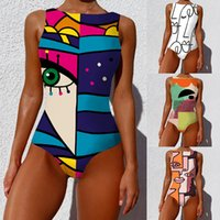 New Style women's One-Piece Bikini Personality Abstract Printed Swimsuit Push Up Swimwear Women Sleeveless Bodysuit Beach Wear