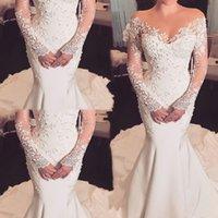 Graceful Lace Long Sleeve Mermaid Wedding Dress 2021 Court Train Vintage Ivory Satin Bridal Gowns Illusion Bride Dresses Vestidos De Novia