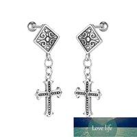 Vintage Gothic Stainless Steel Crosses Pendant Women Men's Stud Earrings Punk Hip Hop Jewelry Accessories Boy Earrings Wholesale