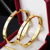 الحب زوجين الإسورة أساور التيتانيوم الصلب برغي مفك روز الذهب والفضة سيدة أساور مجوهرات حجم 16CM-22CM مع حقيبة حمراء