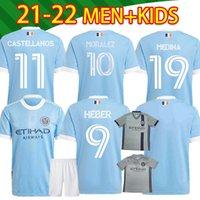 2021 2022 뉴욕 시티 FC 축구 유니폼 Moralez Heber Lampard Pirlo 20 21 축구 남성과 아이 셔츠