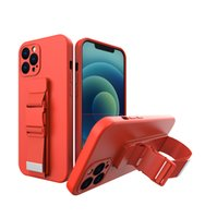 Adjustable Lanyard Sports Silicone Case for iPhone 12 11 Pro Max XR XS 7 8 Plus Full Protective Soft Sturdy Hybrid Wristband Bracket Back Cover Anti-fall
