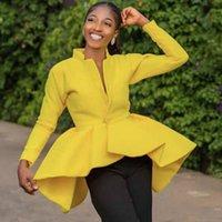 Kadınlar Seksi Parti Bluz Hırka Uzun Kollu Peplum Tops Ruffles Sonbahar Kadın Aşınma Zarif Afrika Bayan Güz Moda