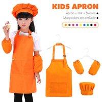 Aprons 3pcs Children Craft Apron Front Pocket Bib Kid Boys Girls Kitchen Child Kids Painting Cooking Baby Pinafore