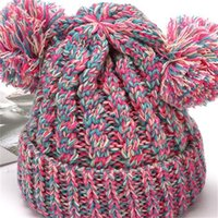 Kid Knit Crochet Beanies Hat Girls Soft Double Balls Winter Warm Hat 12 Colors Outdoor Baby Pompom Ski Caps 185 U2