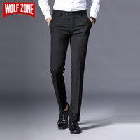 Мужские брюки Wolf Zone Brand Men Casual Class Classics Мода Мужские Брюки Черный Бизнес Формальная Полная длина Мужские 2U2N