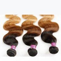 Ombre indiano Remy Capelli Capelli Tessuto Grado 8a Ombre Ombre Onda indiana Body Wave Virgin Human Hair Extensions 3pcs Tre tono 1b 4 27 # Brown Blonde