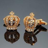 Французская мужская рубашка металлическая латунная эмаль запонки деловых костюмов верхний рукав кнопка корона кристалл алмазная манжета ссылки для мужчин мода ювелирные изделия будут и песчаные