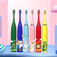 Crianças da escova de dentes elétrica das crianças Sonic 3 a 12 anos de limpeza de limpeza Bactérias orais 6 Pincel de substituição Cabeça USB Carregamento para Portable