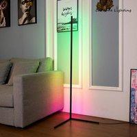 노르딕 rgb 코너 바닥 램프 현대 간단한 LED 막대 램프 거실 침실 분위기 서 실내 조명기구 휴대 전화 마운트