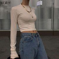 Women's T-Shirt KLALIEN Autumn Winter Fashion Base Women Casual Streetwear O-Neck Solid Color Long Sleeved 2021 Retro Short Slim Top
