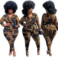 Plus Size Tracksuits Women Two Piece Vintage Printed Shirt Set Long Sleeve Tie Front Tops & Slim Pants Matching Sets Big 4XL