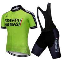 2021 Takım EUSKADI Bisiklet Jersey Set Turuncu 20D Bisiklet Şort Setleri Erkek Ropa Ciclismo Maillot Culotte Biycling Üst Altları Takım Elbise