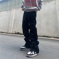 Pantalon en cuir PU Pantalons décontractés Hommes Femmes High Street Droite Droite Loose Piste Hip Hop Couple