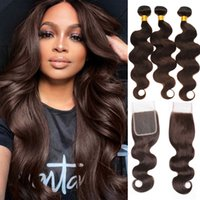 Brazilian Body Wave Human Hair 3 Bundles with Lace Closure Dark Brown Pre-Plucked Natural Hairline