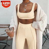 Set outfit # 0x0k vestiti estivi canottiera di canottiere della soiltura color fitness pantaloni lunghi pantaloni sportswear tuta da due pezzi 2 pezzi 2021 2021 donne