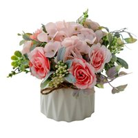 Artificial Plastic Flowers With Ceramic Flowerpot High Quality Silk Home Decor Table Accessories Living Room Decoration Decorative & Wreaths