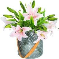 75 سنتيمتر 3 الزهور و 37 سنتيمتر 1 زهرة زنبق الاصطناعي ل diy الزفاف منزل حديقة الزخرفية محاكاة أكاليل وهمية