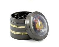 Aleación de zinc Moler molinillo de fumar 4 capas Diámetro de 50 mm Líneas laterales de oro Diamante Dados Hierbes Molendillas Tabaco Spice Trituradora