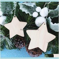 Christmas Festive Supplies Home & Garden10Pcs Star Unfinished Wooden Hanging Ornaments Holes With Natural Jute Twine For Diy Crafts,Christma