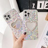 3D Kalp Ayna Glitter Bling Flake TPU Telefon Kılıfları iPhone 12 11 Pro Prokax X XS Max 7 8 Artı Kılıf Kapak