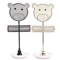 Iron Jewelry Display Stand Ring Holder Cute Bear Ear Studs Earring Storage Tool Pouches, Bags