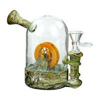 Glasbong-Rohre rauchende Wasserhaarige 4,8 '' Wasserrad Wasserleitung mit Druck für trockenes Herb