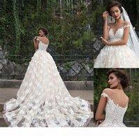 Illusion Boat Neck Short Sleeves A-line Floral Appliques Plus Size Chapel Train Bridal Gowns Champagne Retro Zuhair Murad Lace Wedding Dress