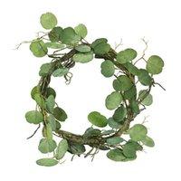 Dekorativa blommor kransar 2,1m konstgjorda eukalyptus grönska falska löv vinstockar rotting simuleringar bröllopsfest hängande krans ivy wrere