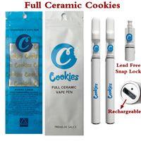 Cookies jetables Vape Stylo Cartouches de céramique Full Ceramic Cigarettes 0.5ml Snap sur embout à embouchure 350mAh Cartouche sans fil rechargeable à la batterie avec sacs d'emballage