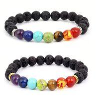 Oils Diffuser Bracelet 7 Chakra 8MM Yoga Beads Bangle Elastic Natural Lava Stone Bracelets Hand Strings Jewelry wjl3696