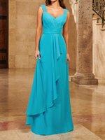 Turquoise Bridesmaid Dress Draped Pleats Chiffon Sweetheart Sleeveless Zipper Back Floor Length