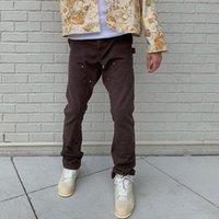 Мужские джинсы спина лодыжки на молнии сращенные прямые пролетные брюки мужские высокие улицы промывают ретро свободные повседневные хип-хоп джинсовые брюки