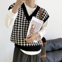 Women's Vests Spring And Autumn Houndstooth Sweater Vest Women Contrast Color Knitted Waistcoat Korean Loose V-neck Outer