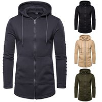 2021 new men's pleated medium and long hooded sweater fashion casual cardigan coat