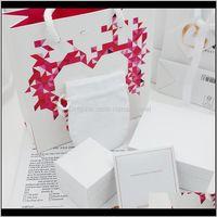 Высококачественные розовые алмазы сердца ювелирные изделия коробки упаковки наборы подходят для ожерелья Pandora Bracte Bracele Rings Серьги Оригинальные коробки PZRPW OEGVT
