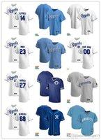 Hombres Mujeres Jóvenes 23 Mike Minor 27 Adalberto Mondedesi 68 Jake Newberry 14 Edward Olivares Jersey de béisbol personalizado en blanco Gris blanco azul