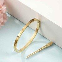 17CM Stainless Steel Love Bracelets silver rose gold bracelet Bangles Women Narrow Version Screw Screwdriver Bangle Designer Jewelry Wholesale