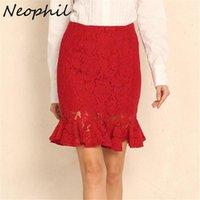 Neophil Black Plus Size 5XL Floral Lace Mini Pencil Skirts Womens Ruffles Hollow Out Elegant Ladies Saia Lapis Short Skirt S1811