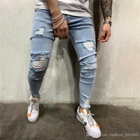 new style fashion men's ripped denim, jeans designer crime ripped jeans, blue pants hip-hop style trousers