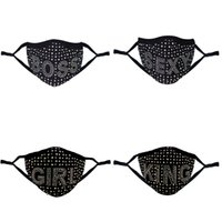 designer diamond masks bling print boss queen rhinestone colorful face mask women party washable sexy sex fashion facemask 1735 T2