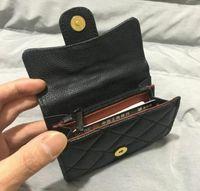 Classic Flip Brand Wallet Paris Designer Caviar Wallets Titular de la tarjeta de las mujeres Monedero de monedas de cuero negro