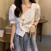 Women's Blouses & Shirts Tops Women Short Sleeve Single Breasted Irregular Crop Blouse Summer Korean Style OL Clothing Female V Neck Shirt