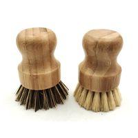 Bambu Çanak Scrub Fırçalar Mutfak Ahşap Temizleme Scrubbers Yıkama Dökme Demir Tava / Pot Doğal Sisal Kıllar 1867 V2