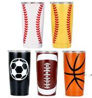 20OZ 30OZ Baseball Tumbler Mugs Softball Basketball Football Stainless Steel Cups Car Beer Cups Vacuum Insulated Mugs 11style FWB10186