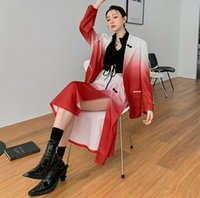 Women Two Piece Dress Suits 2021 Fashion Female Red and White Gradient Basic Blazer + High Waist Skirt OL Elegant Suit Sets